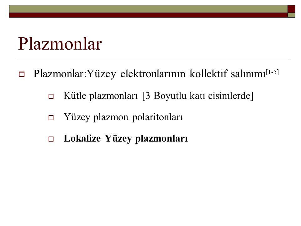Plazmonlar  Plazmonlar:Yüzey elektronlarının kollektif salınımı [1-5]  Kütle plazmonları [3 Boyutlu katı cisimlerde]  Yüzey plazmon polaritonları 