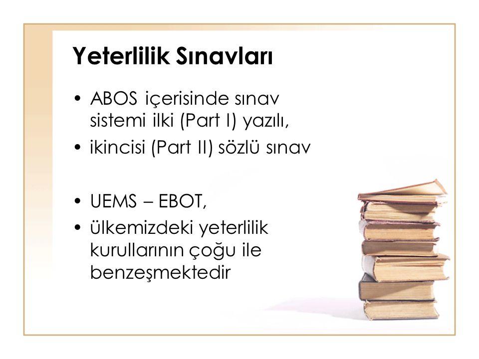 Yeterlilik Sınavları ABOS içerisinde sınav sistemi ilki (Part I) yazılı, ikincisi (Part II) sözlü sınav UEMS – EBOT, ülkemizdeki yeterlilik kurulların