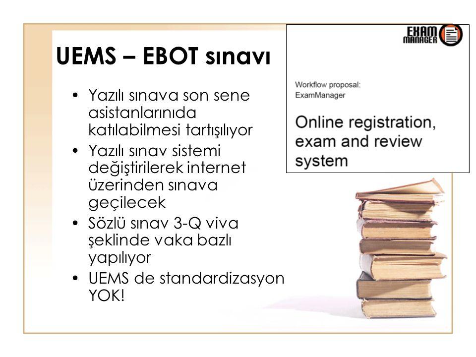UEMS – EBOT sınavı Yazılı sınava son sene asistanlarınıda katılabilmesi tartışılıyor Yazılı sınav sistemi değiştirilerek internet üzerinden sınava geçilecek Sözlü sınav 3-Q viva şeklinde vaka bazlı yapılıyor UEMS de standardizasyon YOK!