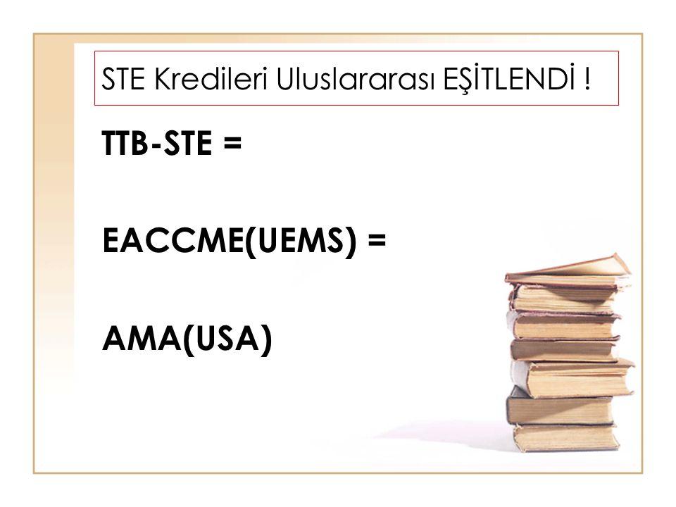 STE Kredileri Uluslararası EŞİTLENDİ ! TTB-STE = EACCME(UEMS) = AMA(USA)