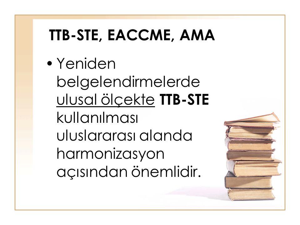 TTB-STE, EACCME, AMA Yeniden belgelendirmelerde ulusal ölçekte TTB-STE kullanılması uluslararası alanda harmonizasyon açısından önemlidir.