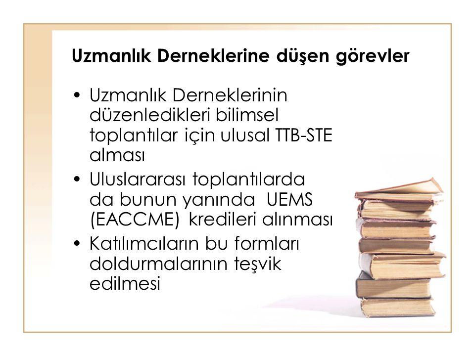 Uzmanlık Derneklerine düşen görevler Uzmanlık Derneklerinin düzenledikleri bilimsel toplantılar için ulusal TTB-STE alması Uluslararası toplantılarda da bunun yanında UEMS (EACCME) kredileri alınması Katılımcıların bu formları doldurmalarının teşvik edilmesi