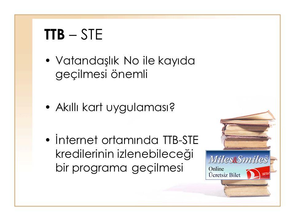 TTB – STE Vatandaşlık No ile kayıda geçilmesi önemli Akıllı kart uygulaması? İnternet ortamında TTB-STE kredilerinin izlenebileceği bir programa geçil
