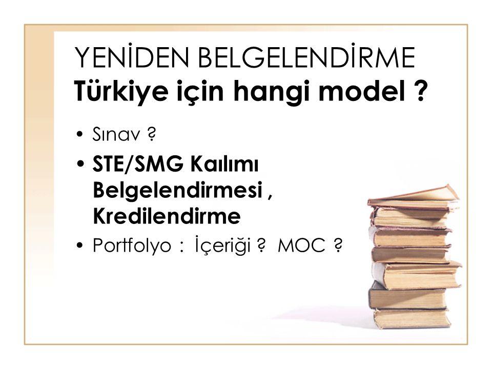 YENİDEN BELGELENDİRME Türkiye için hangi model ? Sınav ? STE/SMG Kaılımı Belgelendirmesi, Kredilendirme Portfolyo : İçeriği ? MOC ?