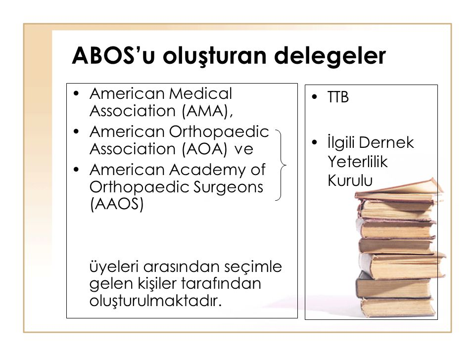 ABOS'u oluşturan delegeler American Medical Association (AMA), American Orthopaedic Association (AOA) ve American Academy of Orthopaedic Surgeons (AAO