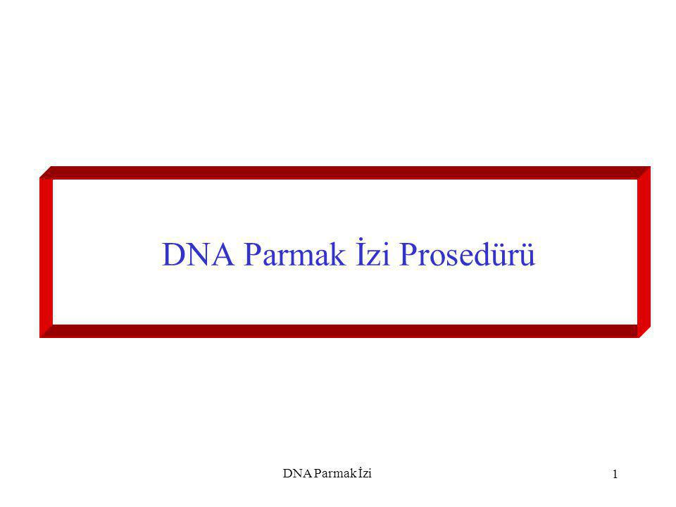 DNA Parmak İzi2 Her grup için tüpler