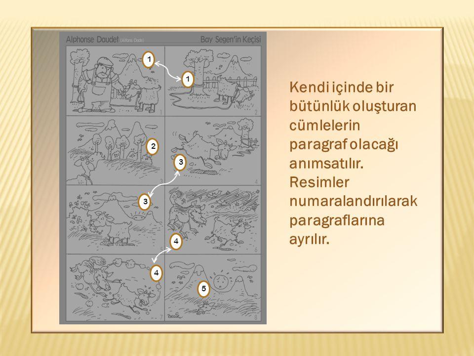 1 1 1 2 5 4 4 3 3 Kendi içinde bir bütünlük oluşturan cümlelerin paragraf olacağı anımsatılır. Resimler numaralandırılarak paragraflarına ayrılır.