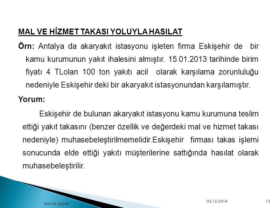 MAL VE HİZMET TAKASI YOLUYLA HASILAT Örn: Antalya da akaryakıt istasyonu işleten firma Eskişehir de bir kamu kurumunun yakıt ihalesini almıştır. 15.01