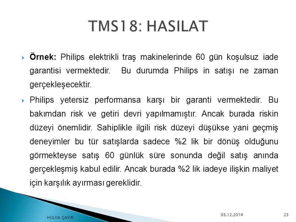  Örnek: Philips elektrikli traş makinelerinde 60 gün koşulsuz iade garantisi vermektedir. Bu durumda Philips in satışı ne zaman gerçekleşecektir.  P