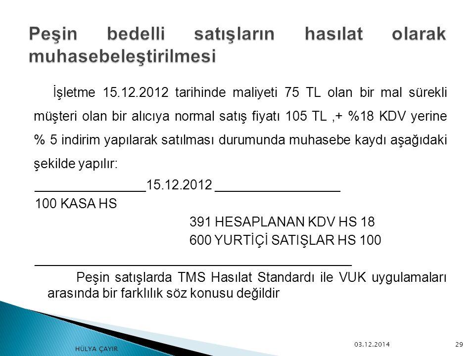 İşletme 15.12.2012 tarihinde maliyeti 75 TL olan bir mal sürekli müşteri olan bir alıcıya normal satış fiyatı 105 TL,+ %18 KDV yerine % 5 indirim yapı
