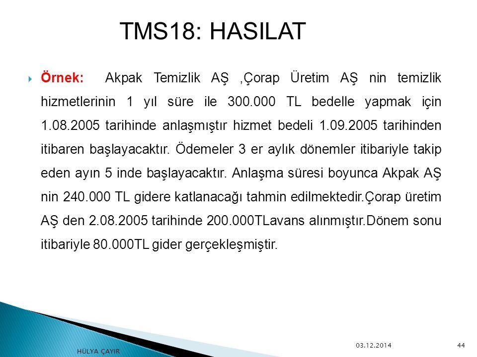  Örnek: Akpak Temizlik AŞ,Çorap Üretim AŞ nin temizlik hizmetlerinin 1 yıl süre ile 300.000 TL bedelle yapmak için 1.08.2005 tarihinde anlaşmıştır hi