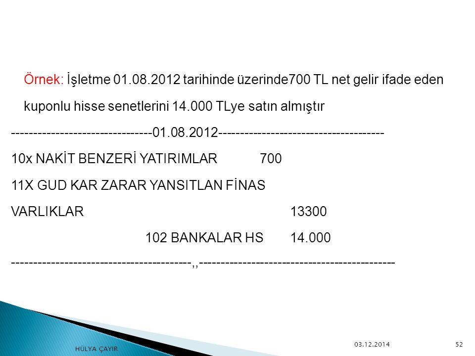 Örnek: İşletme 01.08.2012 tarihinde üzerinde700 TL net gelir ifade eden kuponlu hisse senetlerini 14.000 TLye satın almıştır -------------------------