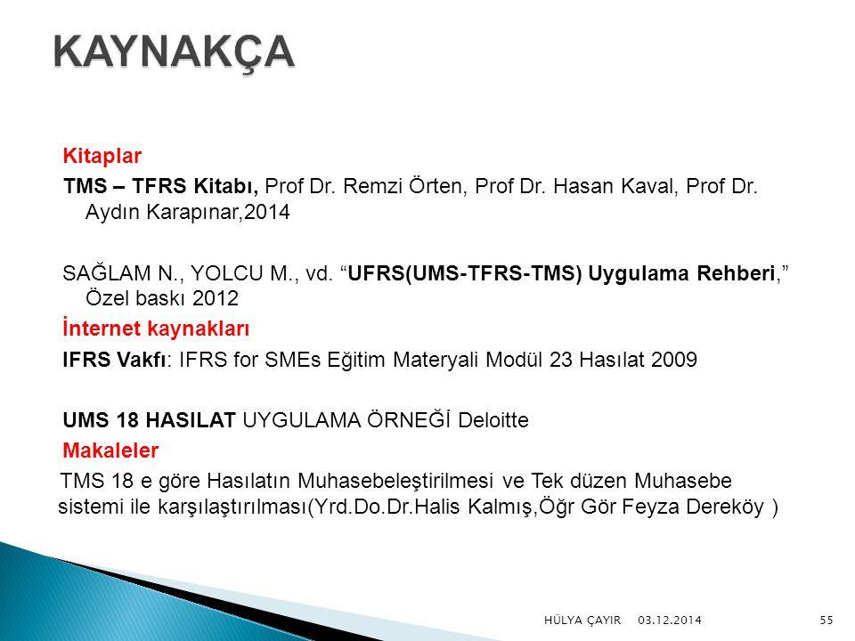 "Kitaplar TMS – TFRS Kitabı, Prof Dr. Remzi Örten, Prof Dr. Hasan Kaval, Prof Dr. Aydın Karapınar,2014 SAĞLAM N., YOLCU M., vd. ""UFRS(UMS-TFRS-TMS) Uyg"