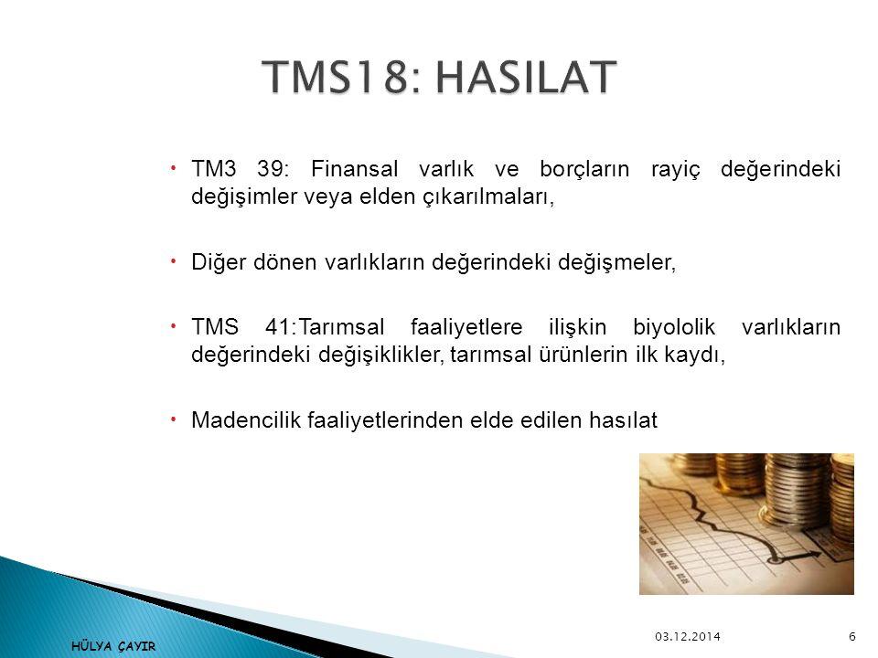  TM3 39: Finansal varlık ve borçların rayiç değerindeki değişimler veya elden çıkarılmaları,  Diğer dönen varlıkların değerindeki değişmeler,  TMS