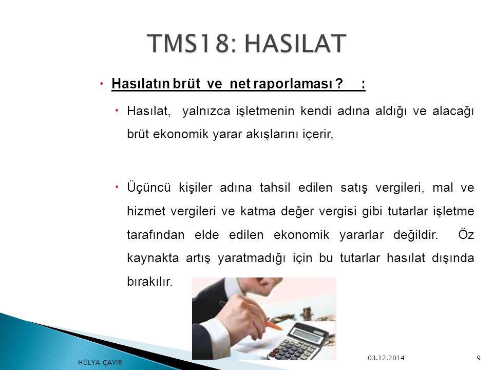  Hasılatın finansal tablolara yansıtılması:  Faiz, TMS 39 Finansal Araçlar: Muhasebeleştirme ve Ölçme Standardında belirlenen etkin faiz yöntemine göre muhasebeleştirilir,  Ödenmemiş faiz tahakkuk ettirilir, edinim sonrası faiz hasılat olarak finansal tablolara yansıtılır.
