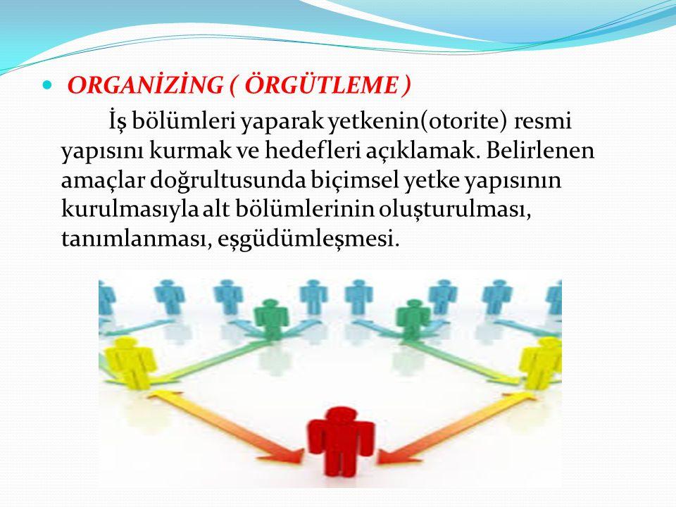 ORGANİZİNG ( ÖRGÜTLEME ) İş bölümleri yaparak yetkenin(otorite) resmi yapısını kurmak ve hedefleri açıklamak. Belirlenen amaçlar doğrultusunda biçimse