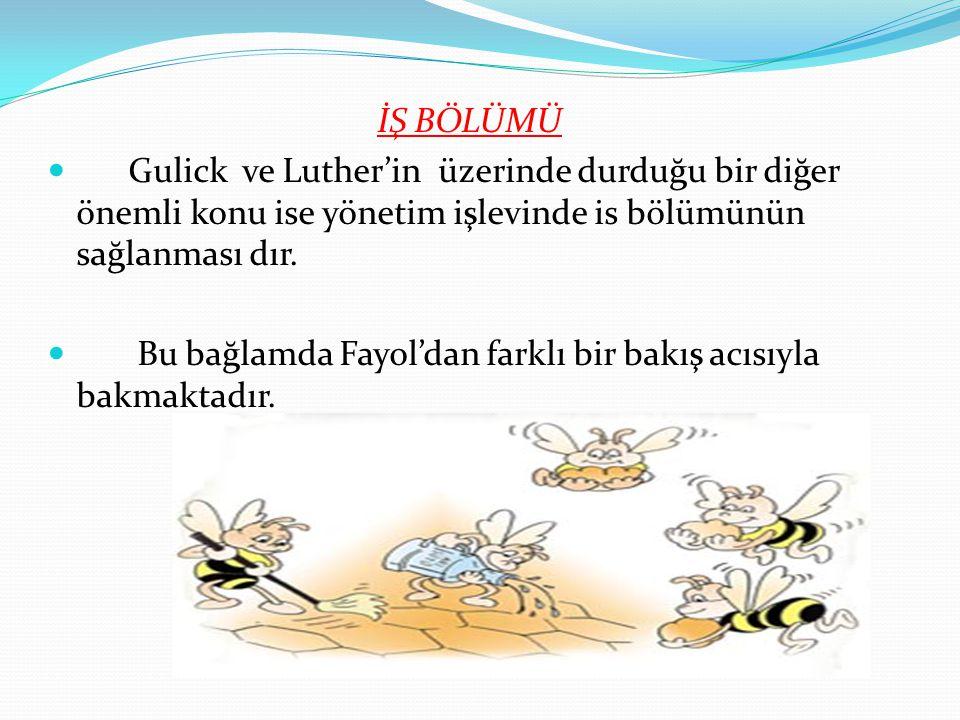 İŞ BÖLÜMÜ Gulick ve Luther'in üzerinde durduğu bir diğer önemli konu ise yönetim işlevinde is bölümünün sağlanması dır. Bu bağlamda Fayol'dan farklı b