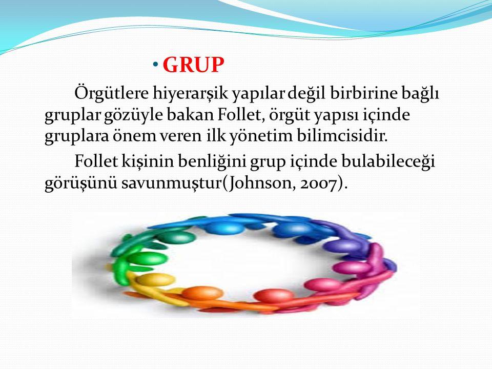 GRUP Örgütlere hiyerarşik yapılar değil birbirine bağlı gruplar gözüyle bakan Follet, örgüt yapısı içinde gruplara önem veren ilk yönetim bilimcisidir
