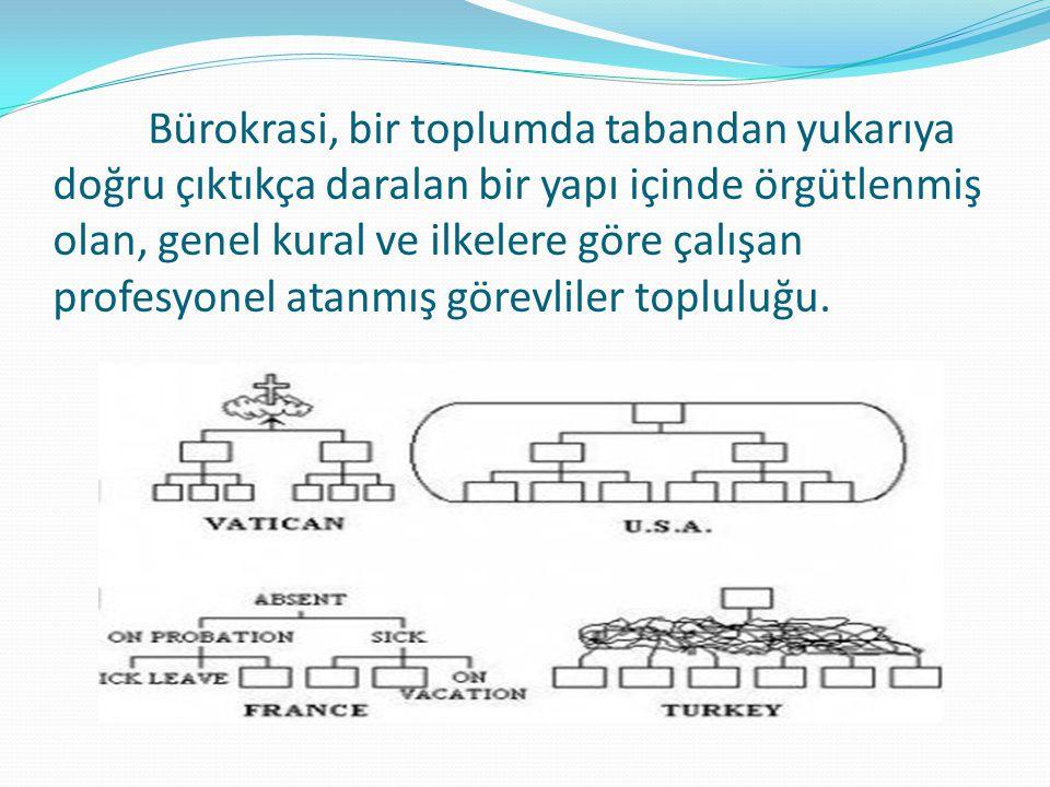 Bürokrasi, bir toplumda tabandan yukarıya doğru çıktıkça daralan bir yapı içinde örgütlenmiş olan, genel kural ve ilkelere göre çalışan profesyonel at