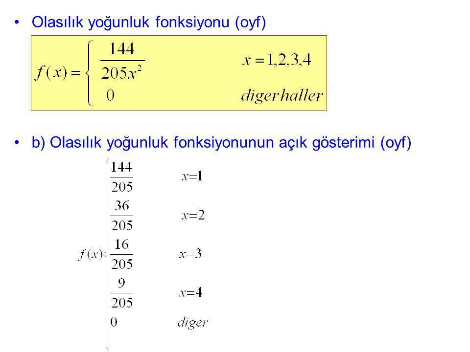 Olasılık yoğunluk fonksiyonu (oyf) b) Olasılık yoğunluk fonksiyonunun açık gösterimi (oyf)