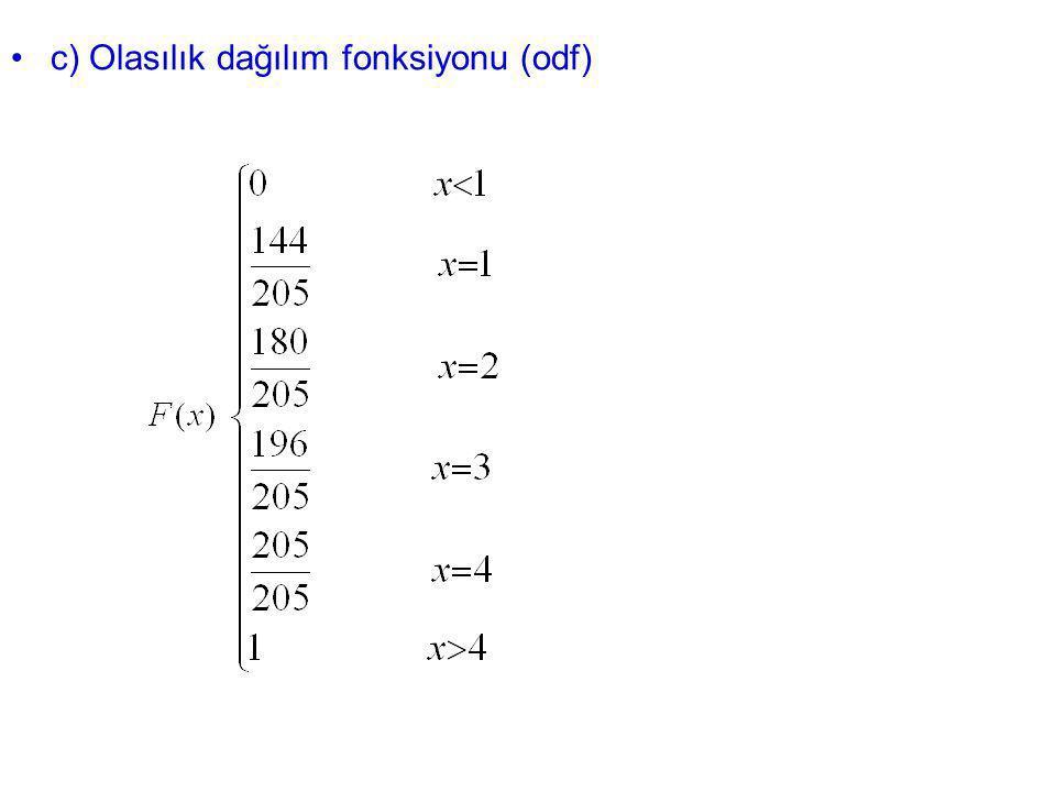 c) Olasılık dağılım fonksiyonu (odf)