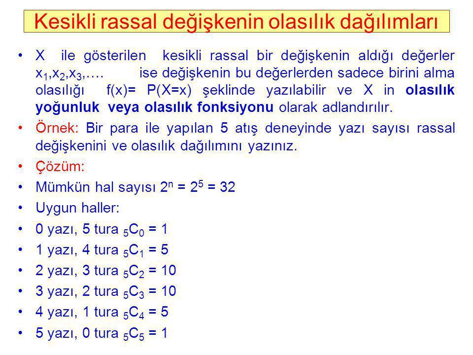 Kesikli rassal değişkenin olasılık dağılımları X ile gösterilen kesikli rassal bir değişkenin aldığı değerler x 1,x 2,x 3,…. ise değişkenin bu değerle