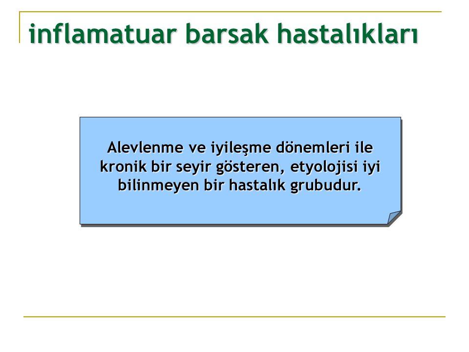 Barsağın tüm katlarıBarsağın tüm katları ve serozanın tutulumu ve serozanın tutulumu Kriptit, kript apsesi, kriptKriptit, kript apsesi, kript yapısında bozulma (*) yapısında bozulma (*) Submukozal histiositSubmukozal histiosit proliferasyonu (**) proliferasyonu (**) FibrozisFibrozis Granülom (***)Granülom (***) Lenfoid agregatLenfoid agregat Crohn hastalığı