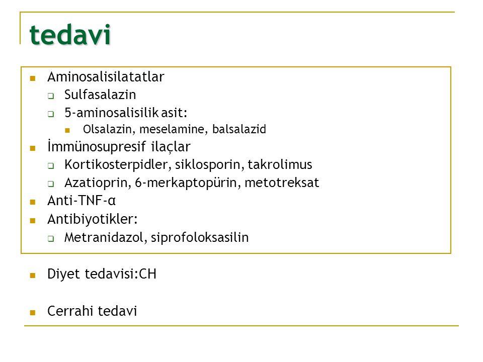 tedavi Aminosalisilatatlar  Sulfasalazin  5-aminosalisilik asit: Olsalazin, meselamine, balsalazid İmmünosupresif ilaçlar  Kortikosterpidler, siklo