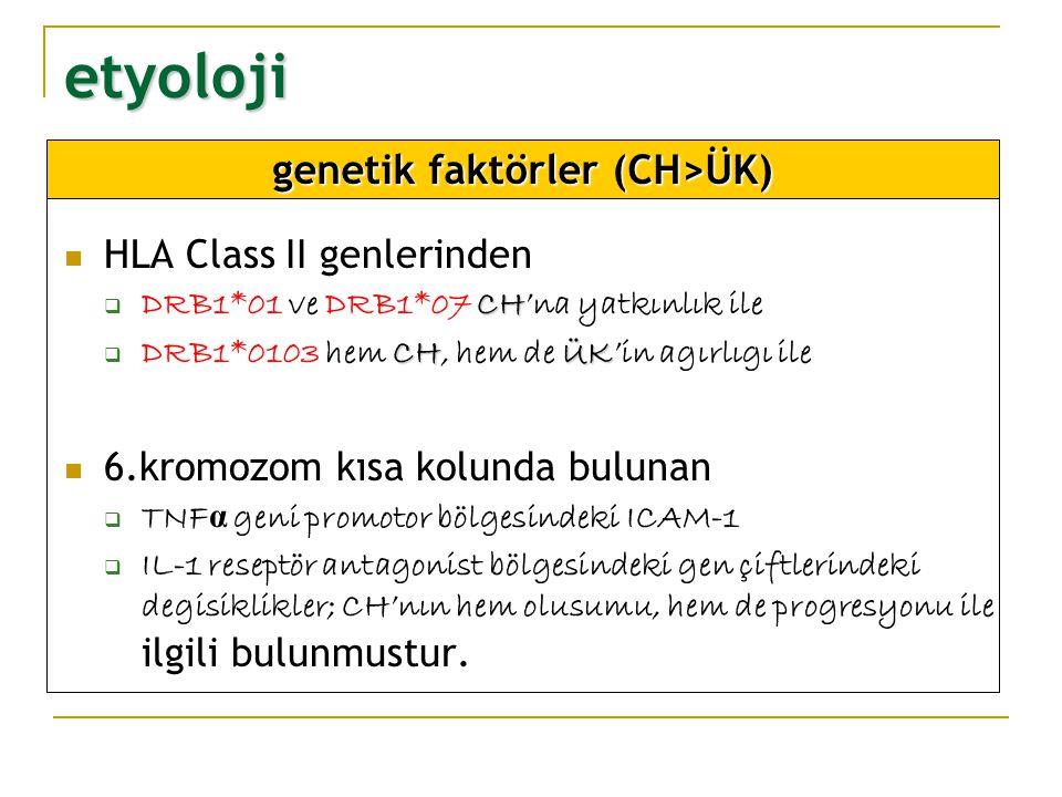 etyoloji NOD2 genlerinde 16.kromozomdaki NOD2 genlerinde oluşan 3 önemli mutasyon CH ile ilişkili bulunmuştur:  hastalıga yatkınlık, tipi, görülme yası NOD2 genleri NOD2 genleri  apoptozis'te ve immün yanıtta önemli olan nükleer faktör aktivasyonundan soumlu proteinleri sentezler  bu proteinler yogun olarak monositlerde eksprese olur ve IL-4 reseptörleri ile ilgilidir genetik faktörler (CH>ÜK)