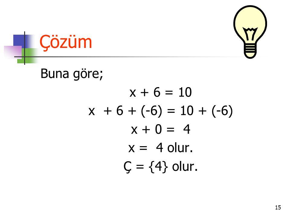 15 Çözüm Buna göre; x + 6 = 10 x + 6 + (-6) = 10 + (-6) x + 0 = 4 x = 4 olur. Ç = {4} olur.