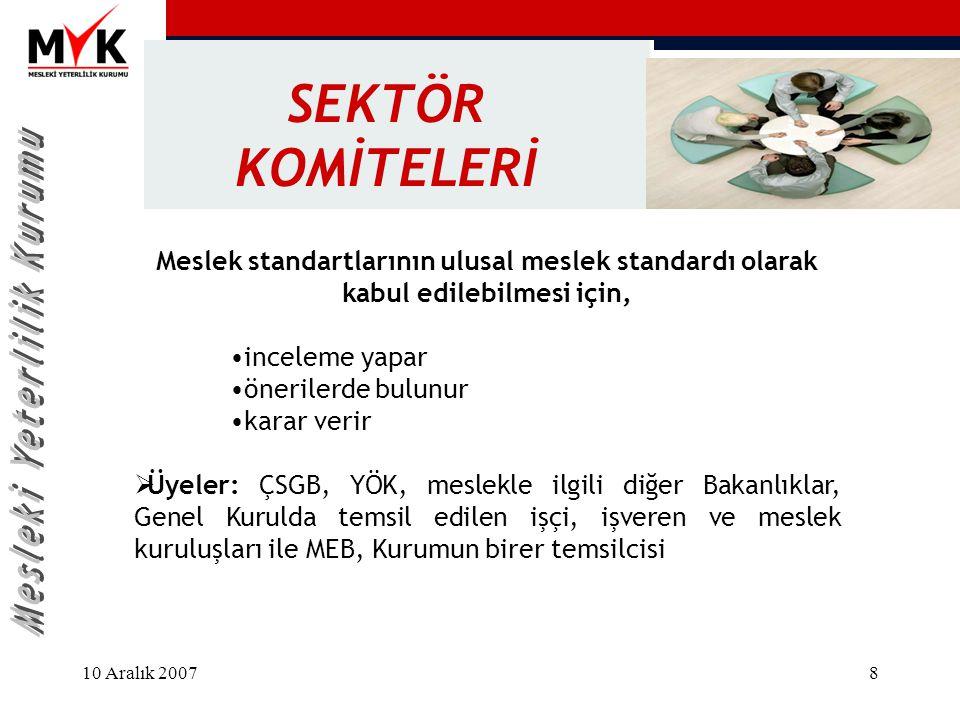 10 Aralık 20078 SEKTÖR KOMİTELERİ Meslek standartlarının ulusal meslek standardı olarak kabul edilebilmesi için, inceleme yapar önerilerde bulunur kar