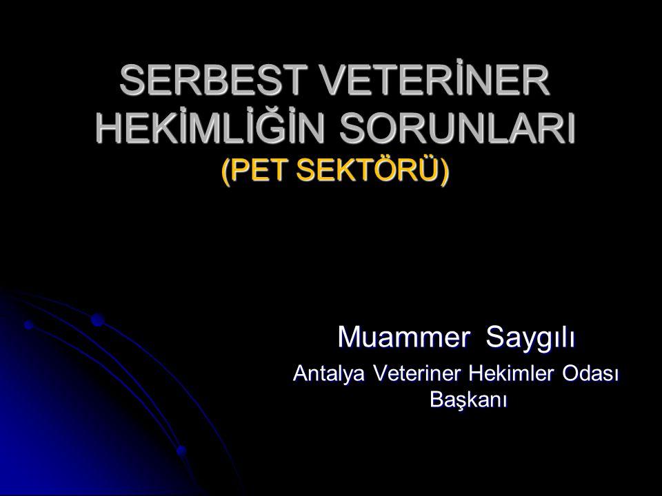 SERBEST VETERİNER HEKİMLİĞİN SORUNLARI (PET SEKTÖRÜ) Muammer Saygılı Antalya Veteriner Hekimler Odası Başkanı