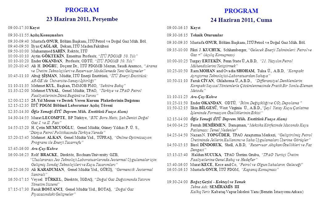 PROGRAM 23 Haziran 2011, Perşembe 09:00-17:30 Kayıt 09:30-11:55 Açılış Konuşmaları 09:30-09:40Mustafa ONUR, Bölüm Başkanı, İTÜ Petrol ve Doğal Gaz Müh