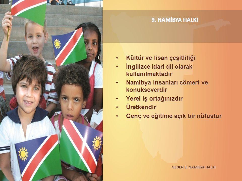 9. NAMİBYA HALKI Kültür ve lisan çeşitliliğiKültür ve lisan çeşitliliği İngilizce idari dil olarak kullanılmaktadırİngilizce idari dil olarak kullanıl