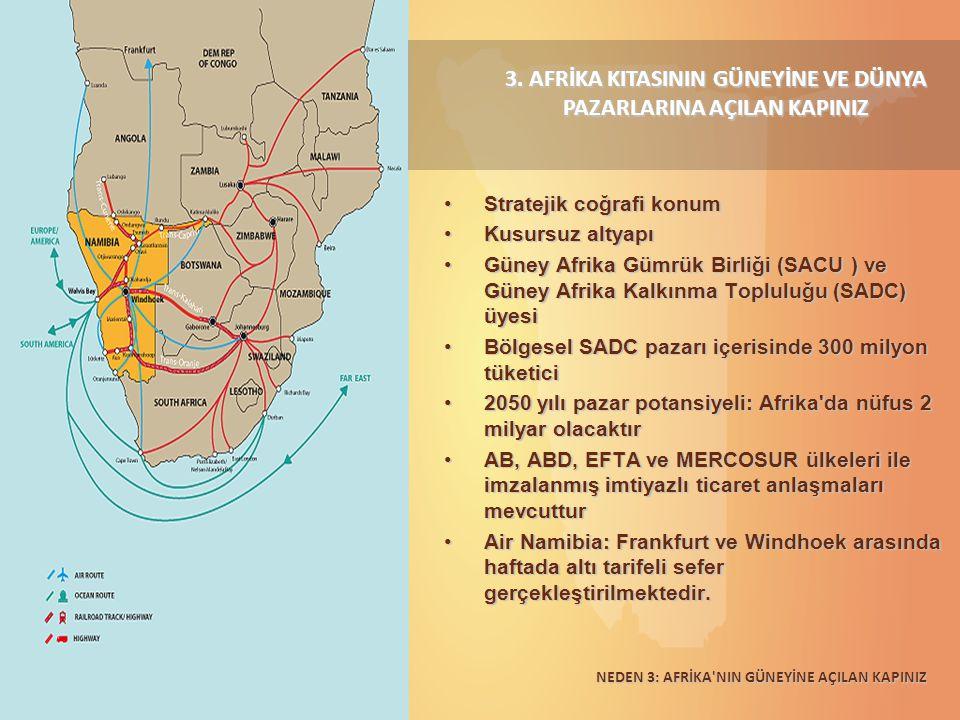 3. AFRİKA KITASININ GÜNEYİNE VE DÜNYA PAZARLARINA AÇILAN KAPINIZ Stratejik coğrafi konumStratejik coğrafi konum Kusursuz altyapıKusursuz altyapı Güney