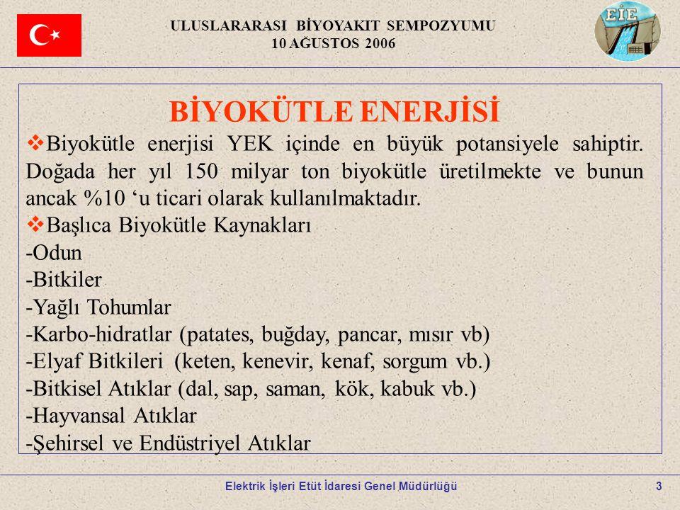 4 BİYOYAKITLAR -Biyogaz -Biyo-Oil -Biyokömür -Biyobriket -Biyoetanol -Biyodizel ULUSLARARASI BİYOYAKIT SEMPOZYUMU 10 AĞUSTOS 2006 Elektrik İşleri Etüt İdaresi Genel Müdürlüğü