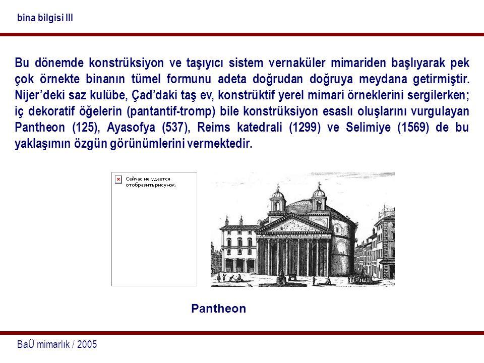 BaÜ mimarlık / 2005 bina bilgisi III Bu dönemde konstrüksiyon ve taşıyıcı sistem vernaküler mimariden başlıyarak pek çok örnekte binanın tümel formunu