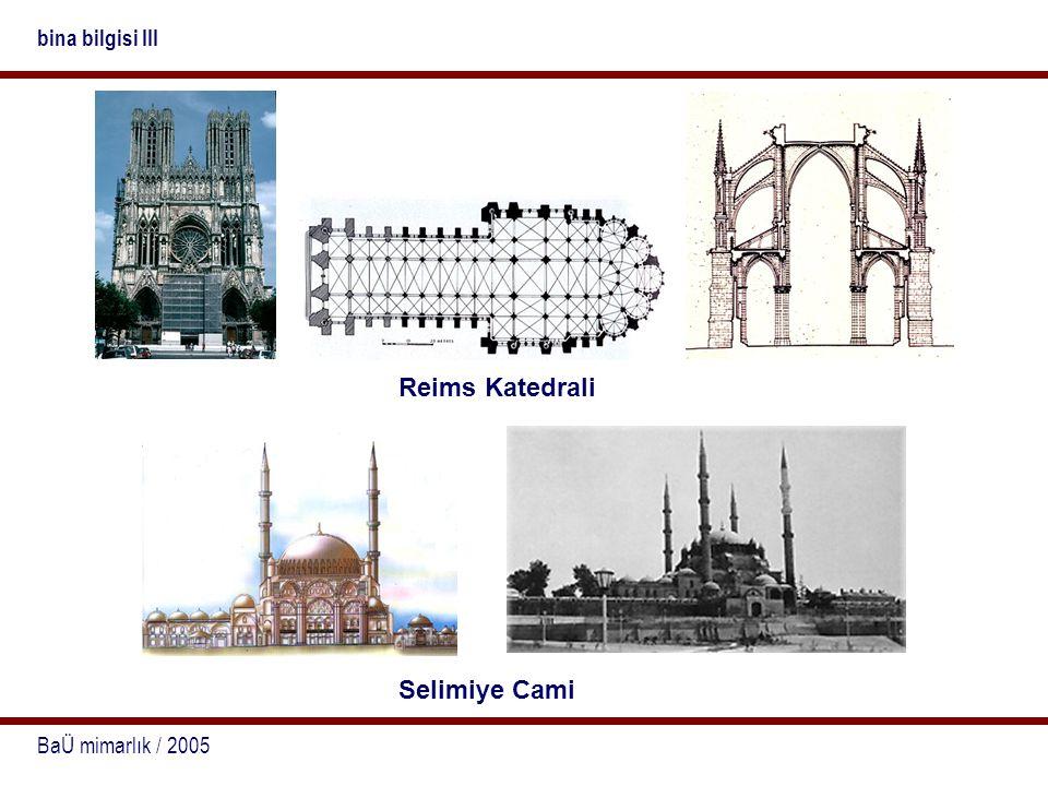 BaÜ mimarlık / 2005 bina bilgisi III Reims Katedrali Selimiye Cami