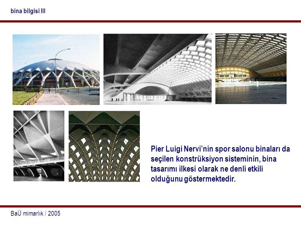 BaÜ mimarlık / 2005 bina bilgisi III Pier Luigi Nervi'nin spor salonu binaları da seçilen konstrüksiyon sisteminin, bina tasarımı ilkesi olarak ne den