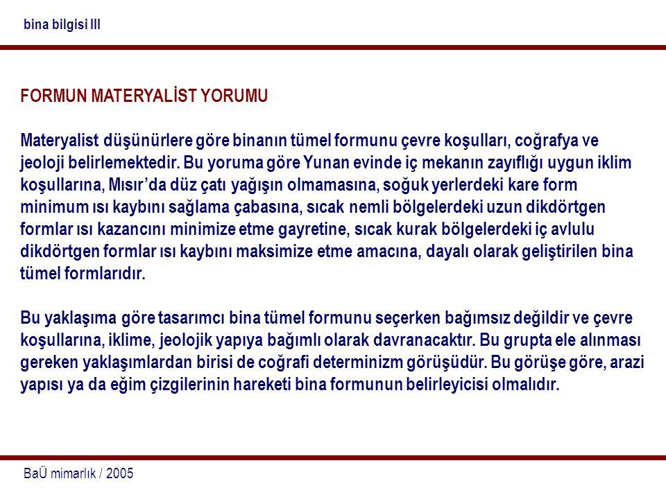 BaÜ mimarlık / 2005 bina bilgisi III FORMUN MATERYALİST YORUMU Materyalist düşünürlere göre binanın tümel formunu çevre koşulları, coğrafya ve jeoloji