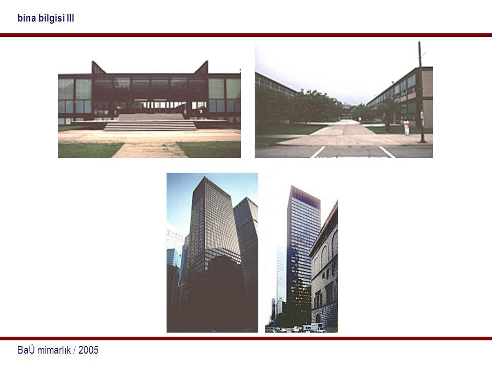 BaÜ mimarlık / 2005 bina bilgisi III Ürünün konstrüktif özelliklerine karar verirken, binanın tümel formu ve onun yanı sıra bileşenlerinin biçimsel düzeni belirlenmektedir.