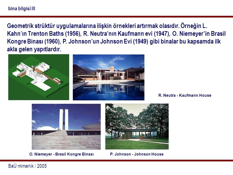 BaÜ mimarlık / 2005 bina bilgisi III Geometrik strüktür uygulamalarına ilişkin örnekleri artırmak olasıdır. Örneğin L. Kahn'ın Trenton Baths (1956), R