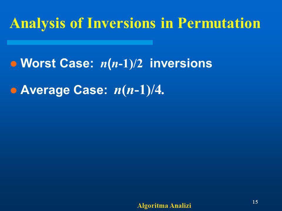 Algoritma Analizi 15 Analysis of Inversions in Permutation Worst Case: n ( n-1)/2 inversions Average Case: n(n-1)/4.
