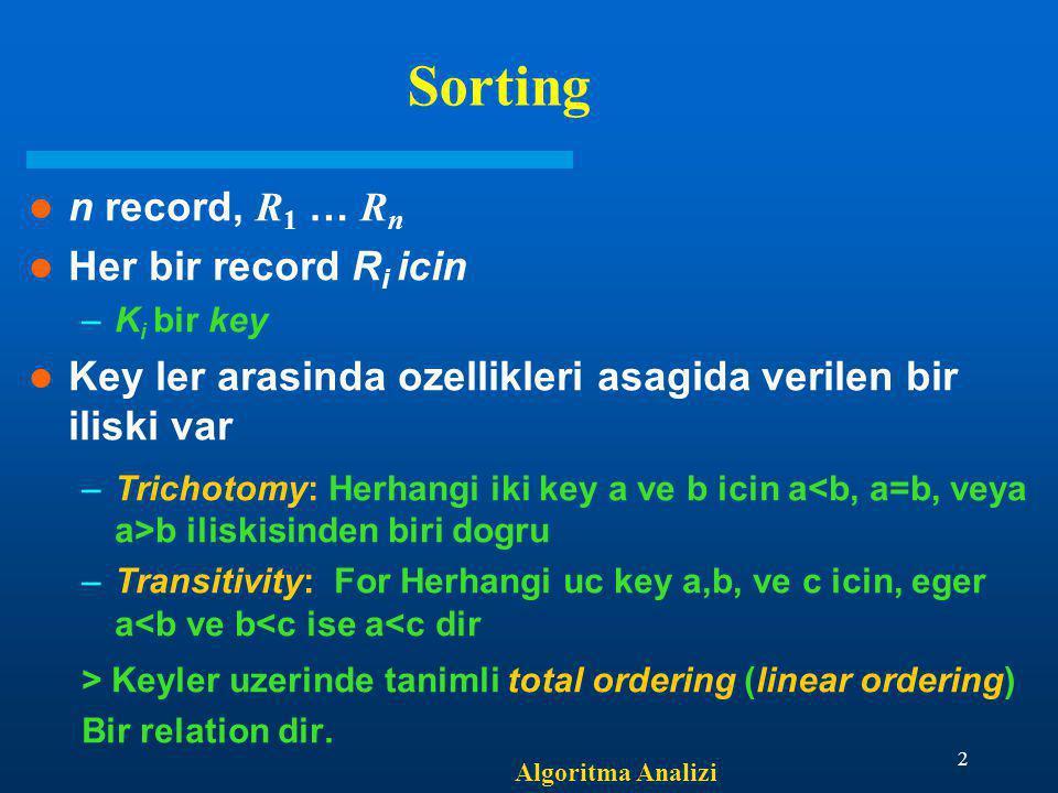 Algoritma Analizi 2 Sorting n record, R 1 … R n Her bir record R i icin –K i bir key Key ler arasinda ozellikleri asagida verilen bir iliski var –Tric