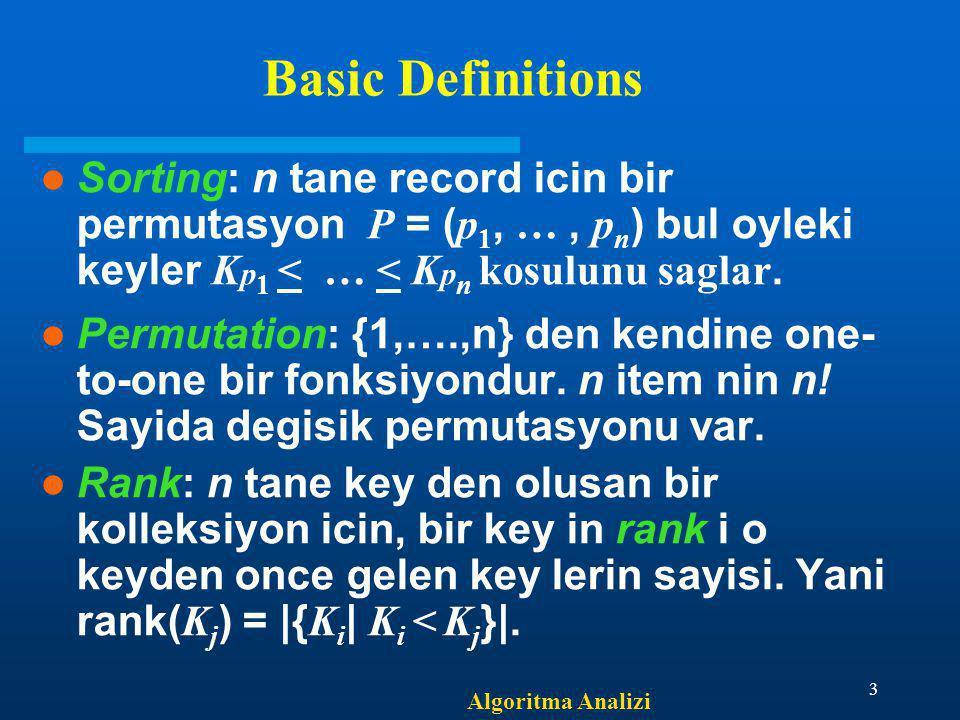 Algoritma Analizi 3 Basic Definitions Sorting: n tane record icin bir permutasyon P = ( p 1, …, p n ) bul oyleki keyler K p 1 < … < K p n kosulunu sag