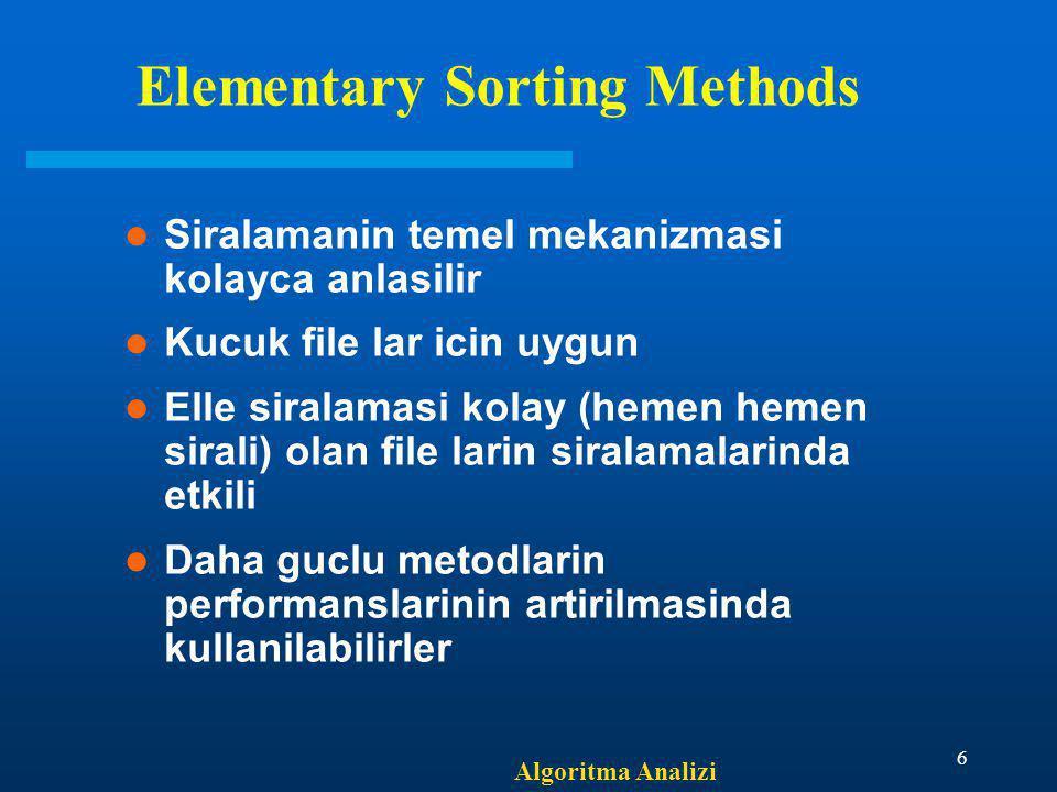 Algoritma Analizi 6 Elementary Sorting Methods Siralamanin temel mekanizmasi kolayca anlasilir Kucuk file lar icin uygun Elle siralamasi kolay (hemen