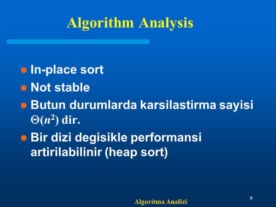 Algoritma Analizi 9 Algorithm Analysis In-place sort Not stable Butun durumlarda karsilastirma sayisi  (n 2 ) dir. Bir dizi degisikle performansi art