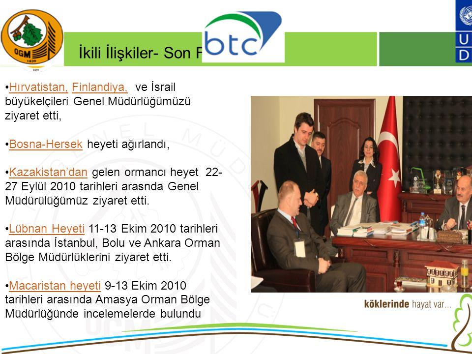 16/12/2010 Kurumsal Kimlik 2 Hırvatistan, Finlandiya, ve İsrail büyükelçileri Genel Müdürlüğümüzü ziyaret etti,Hırvatistan,Finlandiya, Bosna-Hersek heyeti ağırlandı,Bosna-Hersek Kazakistan'dan gelen ormancı heyet 22- 27 Eylül 2010 tarihleri arasnda Genel Müdürülüğümüz ziyaret etti.Kazakistan'dan Lübnan Heyeti 11-13 Ekim 2010 tarihleri arasında İstanbul, Bolu ve Ankara Orman Bölge Müdürlüklerini ziyaret etti.Lübnan Heyeti Macaristan heyeti 9-13 Ekim 2010 tarihleri arasında Amasya Orman Bölge Müdürlüğünde incelemelerde bulunduMacaristan heyeti İkili İlişkiler- Son Faaliyetler