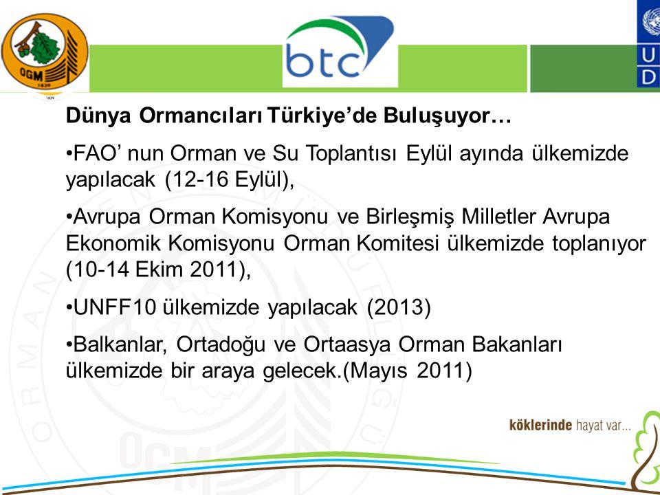 16/12/2010 Kurumsal Kimlik 2 Dünya Ormancıları Türkiye'de Buluşuyor… FAO' nun Orman ve Su Toplantısı Eylül ayında ülkemizde yapılacak (12-16 Eylül), Avrupa Orman Komisyonu ve Birleşmiş Milletler Avrupa Ekonomik Komisyonu Orman Komitesi ülkemizde toplanıyor (10-14 Ekim 2011), UNFF10 ülkemizde yapılacak (2013) Balkanlar, Ortadoğu ve Ortaasya Orman Bakanları ülkemizde bir araya gelecek.(Mayıs 2011)