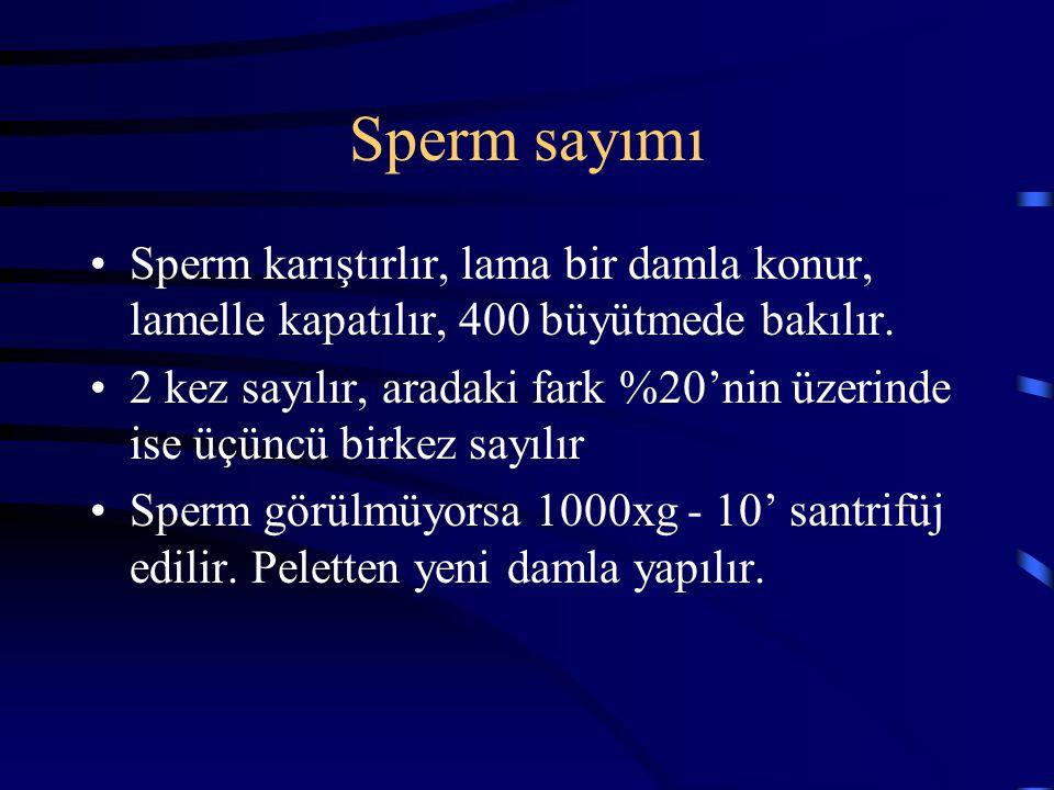 Sperm sayımı Sperm karıştırlır, lama bir damla konur, lamelle kapatılır, 400 büyütmede bakılır. 2 kez sayılır, aradaki fark %20'nin üzerinde ise üçünc